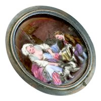 Brooch--Vintage Hand Painted Enamel 19th C. Meal Time Scene in 0.800 Silver