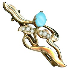 Brooch--Art Nouveau Gold-filled Flora-foliate Design with Seed Pearls and Turquoise
