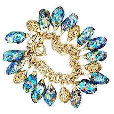 Bracelet--Vintage Signed Napier Gemmato Art Glass Cha-cha Style