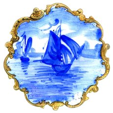Button--Late 19th C. Rococo Flow Blue Enamel Sail Boats on Sea