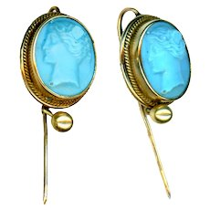 Cravat Pin--ONE Pate De Verre Turquoise Glass Cameo in Gold-plated Brass