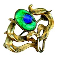 Watch Pin--Small Art Nouveau Gold-plated Brass and Peacock Eye Flower