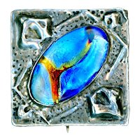 Brooch--Large Arts & Crafts Repousse Pewter and Electric Blue Foil Glass Jewel