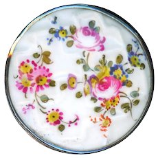 Button--18th C. Mennecy Soft Paste Porcelain Hand Painted Flowers on Lattice