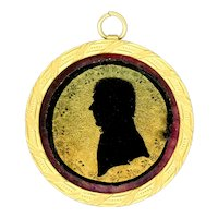 Pendant--Early 19th C. Eglomise Silhouette in Gold-plated Brass