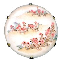 Button--Large Late 19th C. Japanese Satsuma Flower Dunes on Brass