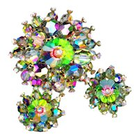 Brooch and Earrings--Spectacular Wild No-name Iridescent Glass Beads