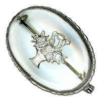 Brooch--Vintage Reverse Silvered Intaglio Glass Basket in Silver