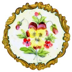 Button--Late 19th C. Rococo Border Emaux Peints Pansy on Brass--Medium