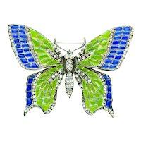 Brooch--Large Modern Plique-a-jour Enamel Butterfly in Sterling Silver