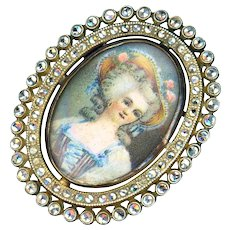 Brooch--Early 20th C. Chromolithograph of Shepherdess Under Glass with Marcasites