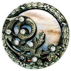 Button--Large Late 19th C. Pearl, Rhinestones, Cut Steel in Regency Design