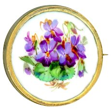 Brooch--Small Hand Painted Violets on Meissen Porcelain