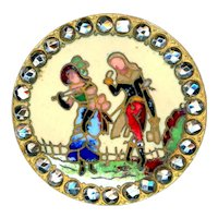 Button--Late 19th C. Colorful Champleve Enamel French Fops in Bright Cut Steels