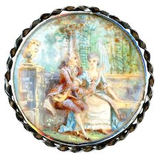 Button--Early 19th C. Painting Under Glass in Silver--The Courtship