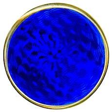 Button--1900 British Cobalt Blue Guilloche Enamel in Sterling Silver