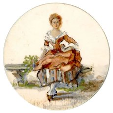 Button--Large Early 19th C. Oil Painting Figure of Woman on Cow Bone