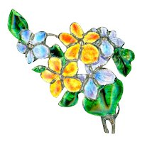 Brooch--Hand Crafted 1942 Enamel on Sterling Flowers with C-clasp