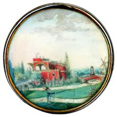 Button--Large 18th C. Georgian Landscape and Fisherman Painted Under Glass