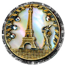 Button--Late 19th C. French Fop Admires Eiffel Tower Steel Cup with Pearl