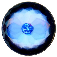Button--Early 20th C. Reverse Painted Glass in Brass with Faux Sapphire Center
