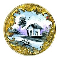 Button--Late 19th C. Emaux Peints Enamel Landscape Home in Rococo Brass