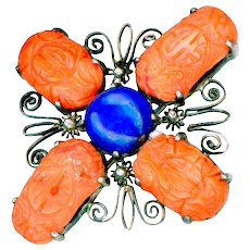 Brooch--Vintage Large Quatreform Carved Coral and Lapis Lazuli in 0.800 Silver Filigree