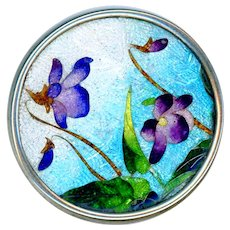 Button--Late 19th C. Cloisonne Foil Enamel in Silver Rim--Violets