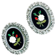 Earrings--Vintage Pietra Dura Florentine Mosaic in 0.800 Filigree Silver--Clips