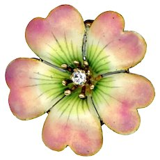 Brooch--Small Early 20th C. Enamel on Gold Flower Blossom with Diamond