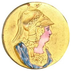 Brooch--Large Vintage Matte Enamel on Bloomed Gold on Brass Centurion