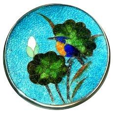 Button--Large Late 19th C. Japanese Foil Enamel Cloisonne Bird on Geranium Leaf in Silver