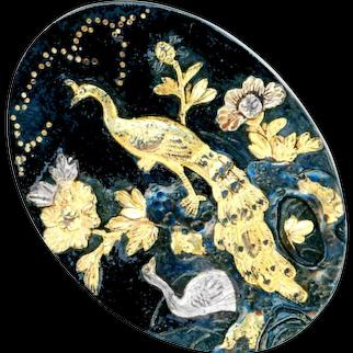 Button--Late 19th C. Japanese Shakudo Peacock Pair in Garden--Oval