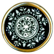 """Button--Unusual Mid-1800s Monochrome Porcelain """"Chantilly Lace"""" in Brass"""