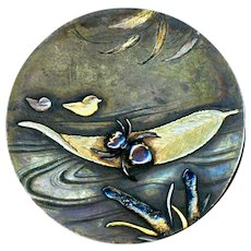 Button--Large 19th C. Shakudo Inset on Floating Leaf with Ducks