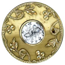 Button--Large Late 19th C. Mottled Celluloid in Brass with Mercury Glass Jewel of Birds