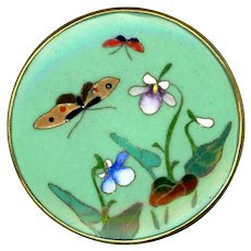 Button--Large Vintage Chinese Enamel Cloisonne Butterflies and Flowers in Brass