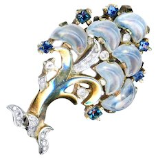 Brooch--Vintage Trifari Claire de Lune Glass Moonstone, Sapphire, & Diamond