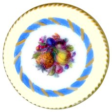 Button--Fine 18th C. Hand Painted Transfer Porcelain Fruits in Torsade