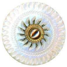 Button--Large 18th C. Georgian Carved Pierced White Pearl & Brass with Unusual Bone Back