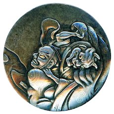 Button--Late 19th C. Large Japanese Shibuishi Mixed Metal Fable with Enveloping Demon