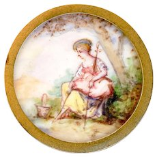 Button--19th C. Pastoral Painting Under Glass of Sheepless Shepherdess