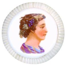 Button--Large Mid-19th C. Transfer on Porcelain in Pearl--Dionysus Head