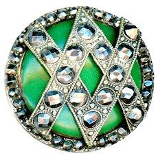 Button--Unusual Large Mid-19th C. Cut Steel Enhanced Interlocked V Bands Over Enamel