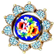 Brooch--Early 20th C. Roman Glass Mosaic Floral with Busy Border