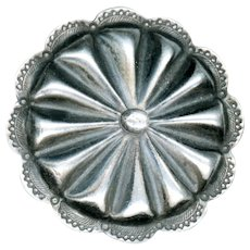 Button--Very Large Early Native American Silver Sun