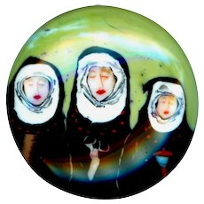 Button--Large Modern Artist Paperweight Glass--3 Fates