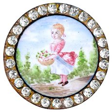 Button--Deluxe Large Late 19th C. French Enamel Girl in Pink Socks with Flower Basket