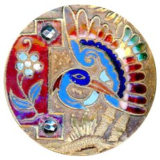 Button--Large Late 19th C. Champleve Enamel Exotic Bird & Flower