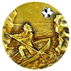 Button--Late 19th C. One-piece Brass Man in Dangerous Straits with Guiding Star